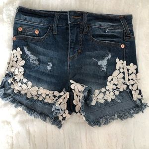 High Waisted, Floral Lace Denim Shorts- NWOT